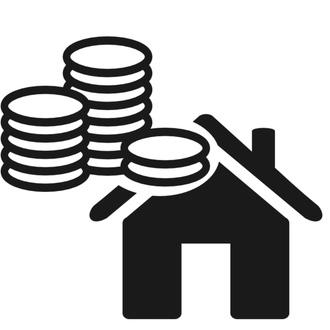 Icona casa con soldi