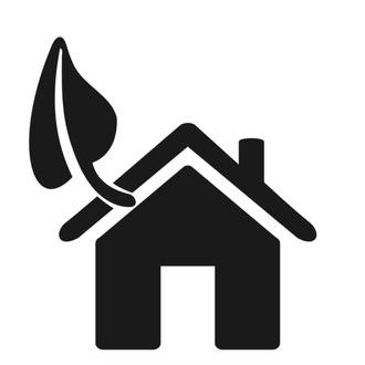 Icona casa con foglia